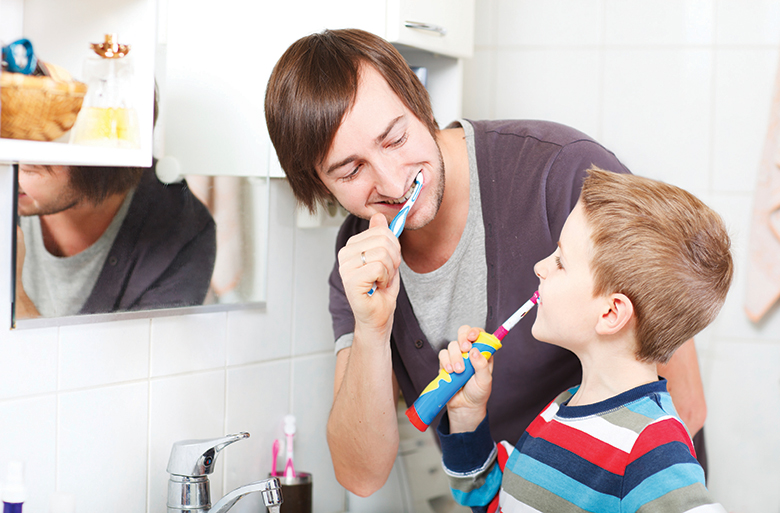 dad-and-son-brush-teeth